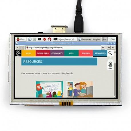 نمایشگر LCD TFT فول کالر تاچ 5 اینچ دارای ورودی HDMI مناسب برای بردهای رسپبری پای