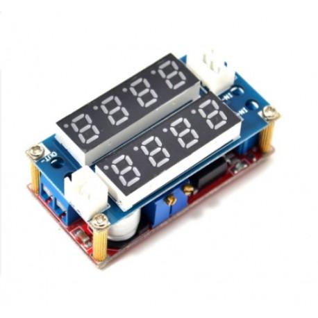 ماژول کاهنده DC به DC کاهنده 5 آمپر دارای نمایشگر و قابلیت تنظیم ولتاژ و جریان خروجی